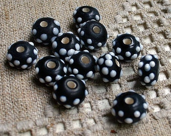 24pcs Lampworked Glass Beads Rondelle Black White 13x9mm