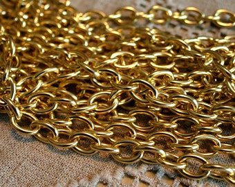 5ft Craft Chain Gold Aluminum 8x5mm Oval Cable Links 8mm