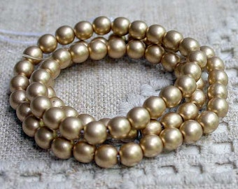 100pcs 4mm Preciosa Czech Pressed Glass Beads Druk Round Gold Satin 16in