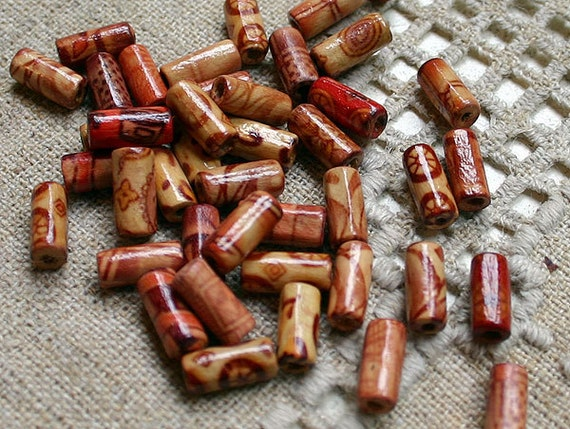 50pcs Wood Beads Painted Tube 12x5mm Painted Pattern