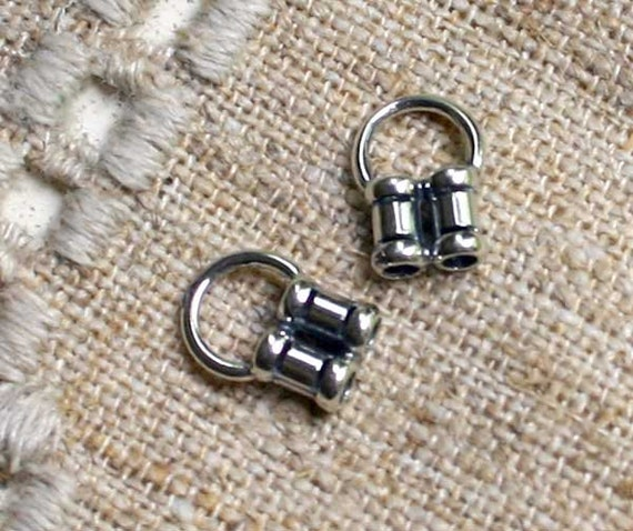 2pcs Crimp Antiqued Sterling Silver 12x8mm Tubes With 2mm Inside Diameter For 2-Strand