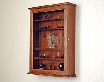Glass Curio Display Case Wall Cabinet-5 Adjustable Shelves