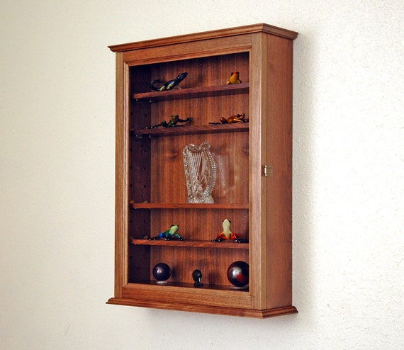Glass Curio Display Case Wall Cabinet 5 Adjustable Shelves