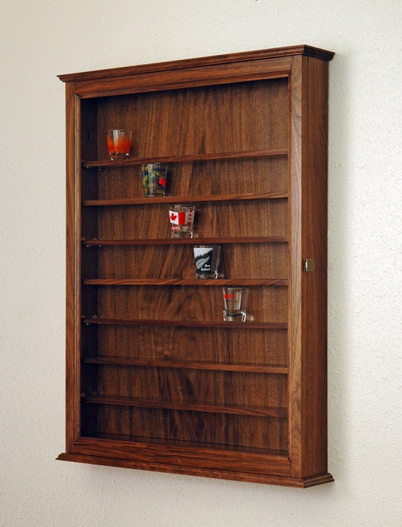 72 Walnut Shot Glass Display Case Cabinet By Fwdisplay On Etsy