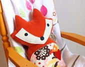 Corduroy Woodland Fox Pillow with Red Heart