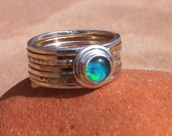Gold Filled, Silver and Opal Triplet Hammered Stack Ring