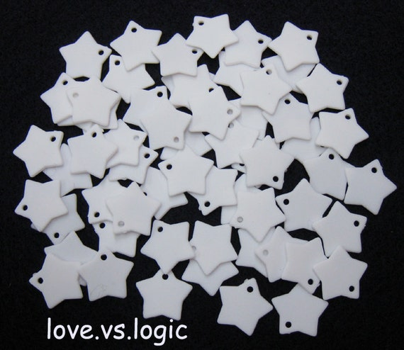100 Star Chip Acrylic Charms.Off White.