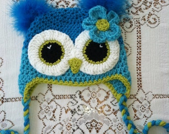 Adult size Turqoise and teal owl hat