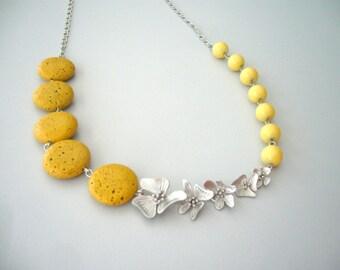 Yellow mustard statement flower necklace,