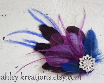 Plum Purple Cobalt Royal Blue Feather Rhinestone Fascinator Bride Bridesmaid PHEOBE Wedding Prom Hair Clip Flapper Headpiece Great Gatsby
