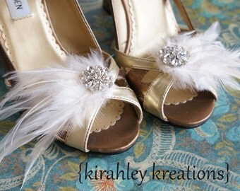 Vintage Style Wedding Shoe Clips Cream Light Ivory Bridal Bride Feather Shoes PETITE MARY LOU Bridesmaids Gift Customizable Prom Accessory