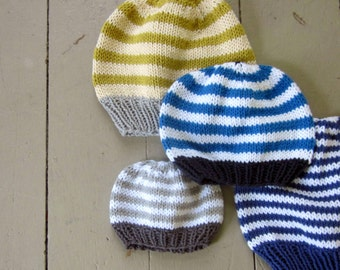 Pattern, basic hat knitting pattern, PDF knitted hat pattern: newborn, baby, toddler, kids sizes