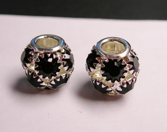Crystal faceted large hole beads - 2 pcs - black