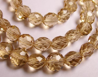 Crystal faceted oval round - 50pcs -  9 mm - AA quality - Topaz  -18 inch strand