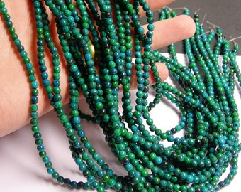 Chrysocolla - 4mm round beads -1 full strand - 95 beads - reconstituted - WHOLESALE DEAL - RFG1454
