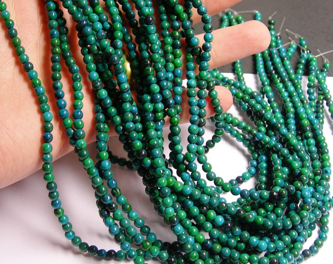 Chrysocolla - 4mm round beads -1 full strand - 95 beads - reconstituted