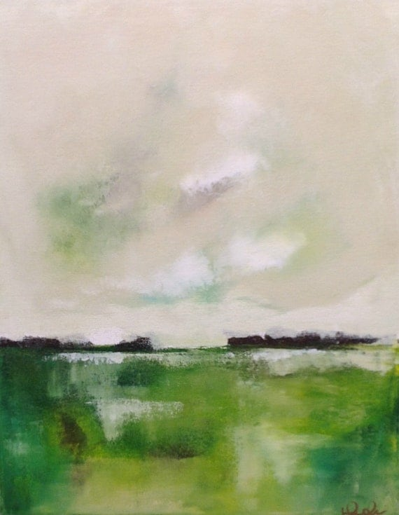 Green Landscape Seascape Original Painting- Green Landscape 16 x 20