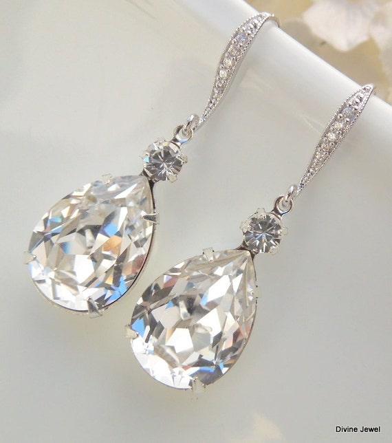 swarovski earrings bridal rhinestone earrings teardrop