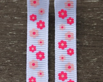 Pink Flower Hair Clips - No Slip Barrettes