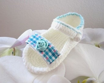 Green  Flower & Plaid Crochet Baby Sandals - 4 Sizes - Ready to Ship