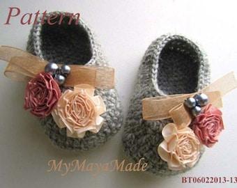 Crochet Pattern - Flowery Beaded Gray Crochet Baby Booties PDF Pattern - BT06022013-13 - Instant Download