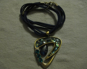 Blue Leather and Stone Necklace