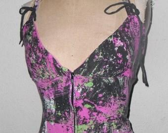 Pink Black Green and White Splattered Art Print Hoodie Halter Tank Top