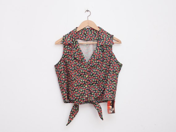 NOS vintage Floral  crop top tied shirt size M