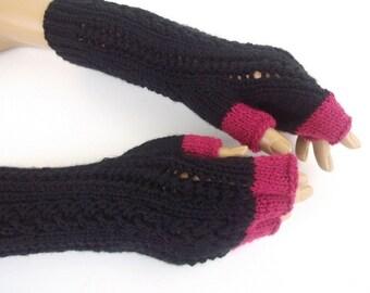 Black and purple Half Finger- Fingerless Gloves-Ready to ship
