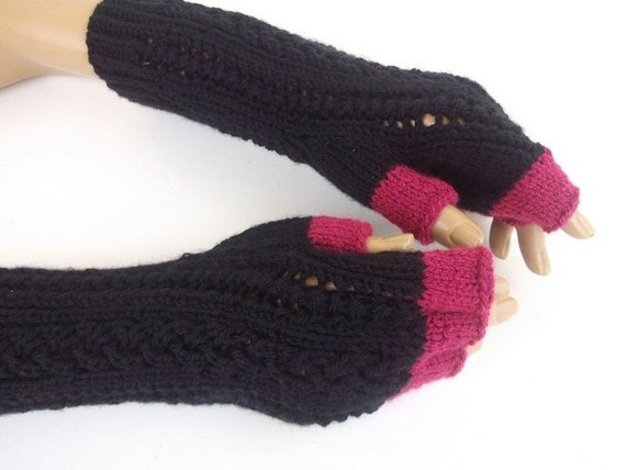 Black and purple Half Finger- Fingerless Gloves-Ready to ship