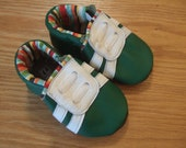 green baby boy shoes, size 6-12 months