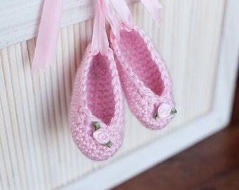 Newborn Ballet Shoes/Crochet Ballet Slippers/ Crochet Booties
