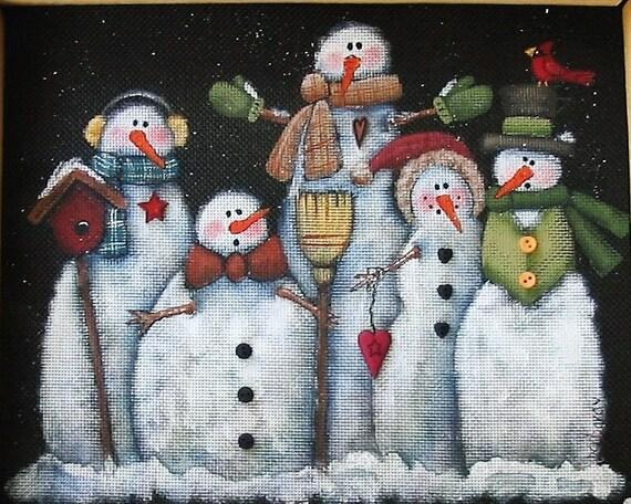 Tole Painting Pattern, Glacier Men or Snowmen, Group of Snowmen, White Snowmen, Instructional Pattern, Five White Snowmen, Winter Scene, DYI