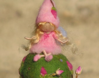 Waldorf inspired needle felted mobile - rose fairy on  ball