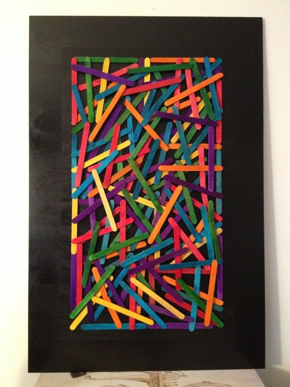 Colorful Popsicle stick wall art by CleverLew on Etsy
