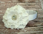 White Satin Dog Collar with Flower Accessory