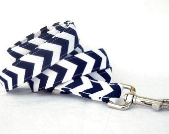 Navy Blue White Chevron Dog Leash - 6 Foot Length