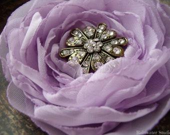 Wedding Hair Flower, Lilac/Lavender Rhinestone Hair Flower, Bridal Accessory
