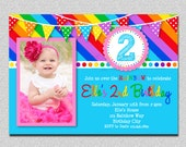 Rainbow Birthday Invitation Rainbow Birthday Party Invitation