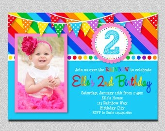 Rainbow Birthday Invitation Rainbow Birthday Party Invitation