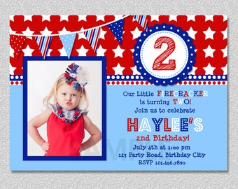 4th of July Birthday Invitation, Red White and Blue Birthday Invitation Boys Girls, Fourth of July Invitation, July 4th Birthday Invitation