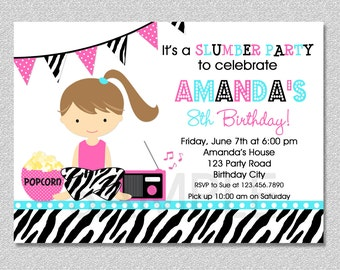 Sleepover Pajama Party Invitation , Slumber Birthday Invitation