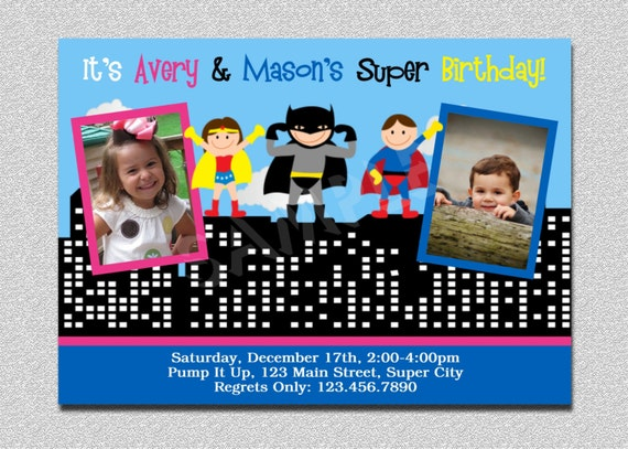Superhero Birthday Invitation Twins Superhero Birthday Party Invitation Printable Siblings Boys or Girls