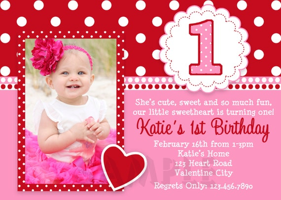 valentines birthday invitation 1st birthday valentines, Birthday invitations