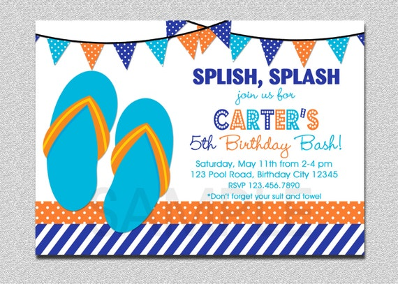 Items similar to Boys Pool Party Invitation Boys Flip Flops Pool – Pool Party Invitations