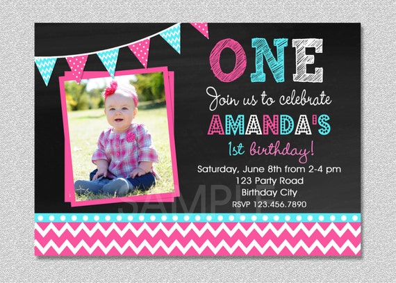 Girls 1st Birthday Invitation Chevron Chalkboard 1st