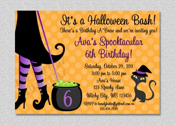 Halloween witch costume party birthday invitation by the trendy il570xn stopboris Choice Image