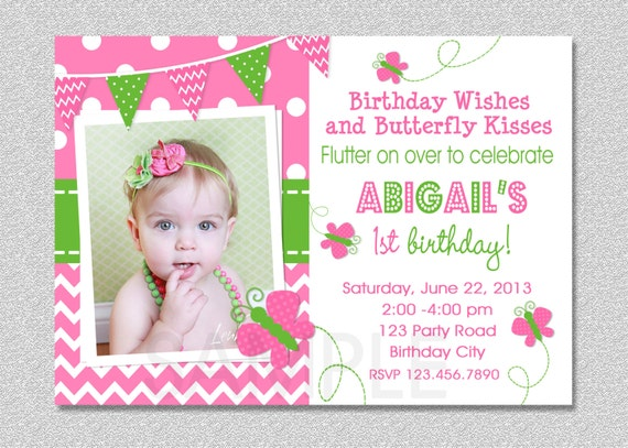 Butterfly Birthday Invitation Butterfly Invitation Girl Birthday