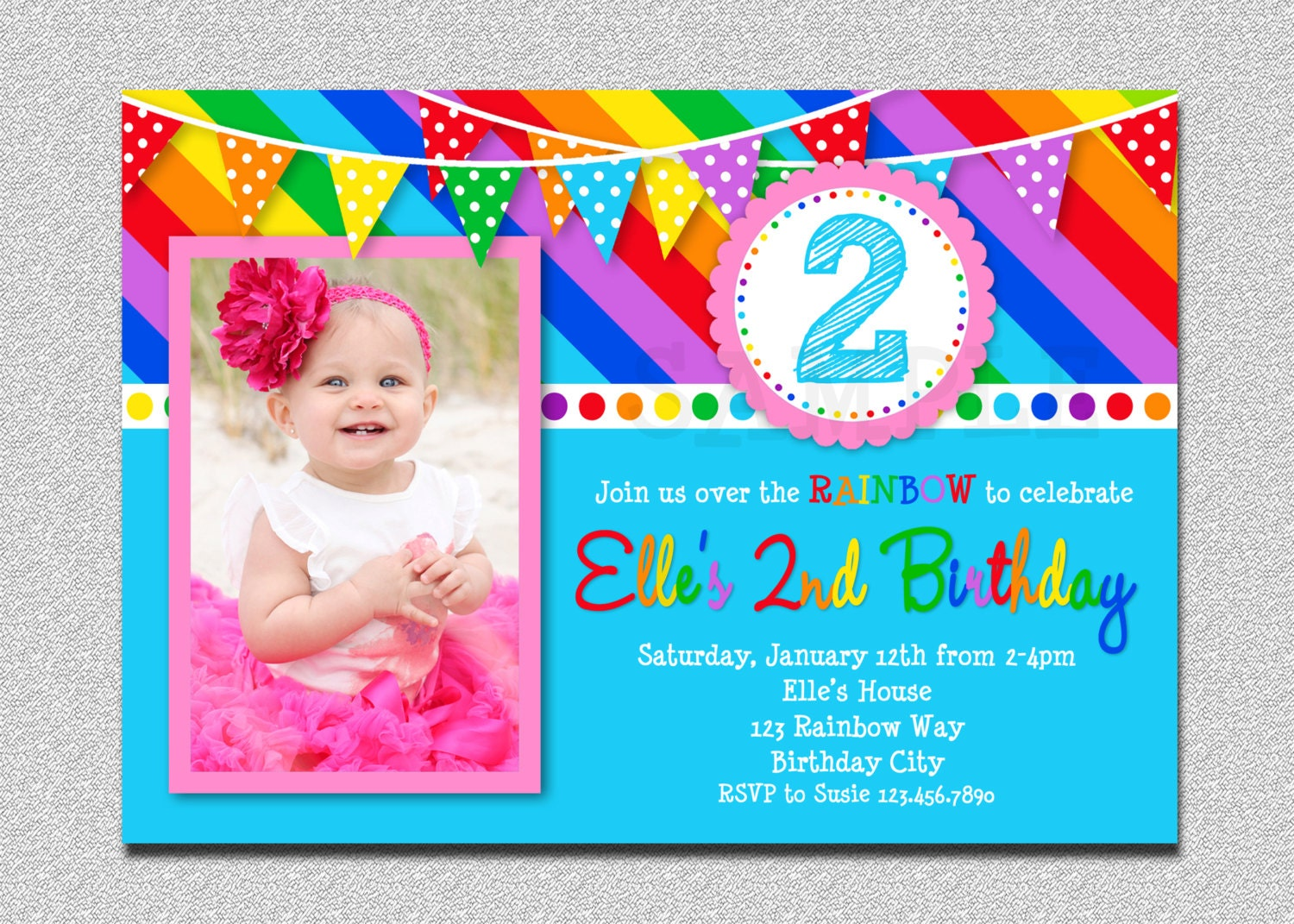 rainbow party invite  etsy, party invitations
