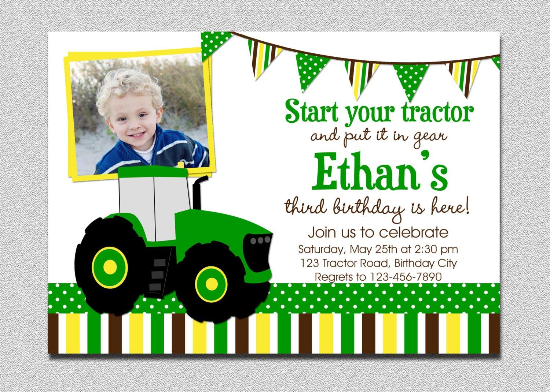 Tractor Birthday Invitation Tractor Birthday Party – John Deere Printable Birthday Invitations